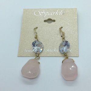 Rose Quartz Stone and crystal Gold Dangle earring